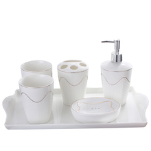 Modern embossed bathroom accessories five sets of bathroom supplies suite wash mouth cup toothbrush holder ceramic soap dish(China)