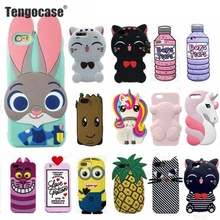 Tengocase 3d cute cartoon case soft silicone cover for iPhone 7 8 plus rabbit kitten rubber cover for iphone 6 6s plus 5 5s SE