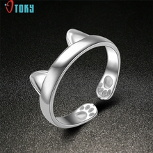 Rings OTOKY Gussy Life New Fashion Design 925 CAT EARS RING Thumb Ring Adjustable Pet Gift Mar31