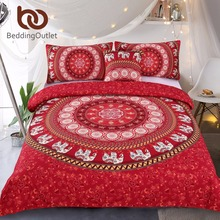 BeddingOutlet Red Mandala Bedding Set Elephant Indian Duvet Cover wiith Pillowcases Soft Moroccan Bedclothes 4Pcs Wholesale(China)
