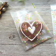100pcs cookie wholesale bread puff gift jewelry flower lovely baking bakery transparent packaging biscuit plastic favors bag