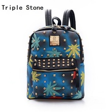 Korean Maple Leaf Printing Backpack Rivet Women Jeans Blue Leather School Bags For Girls Fashion Travel Shoulder Bagpacks