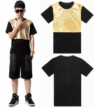 Arsalan 2016 new arrival gold quality shiny man fashion t-shirt loose mens hiphop t shirts pu patchwork men leather t shirt(China)