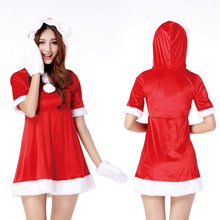 New Year Red Christmas Santa Women Catsuit Rabbit Girl Sexy Halloween Party Costumes Dresses Stage Nightclub Dance Uniforms