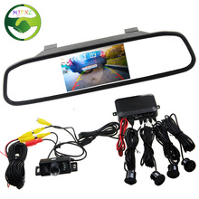 3in1 Car Accessories Parking Sensor 4.3 Inch TFT LCD Car Parking Monitor +Car Rearview Camera Reverse Radar System
