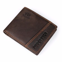 Ruil 2017 New wallet Luxury retro casual 100% authentic genuine leather crazy horse leather men's short wallet coin purse(China)