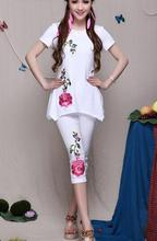 1pcs/lot free shipping National Wind Slim Thin Cotton Stretch Pant Women Casual Embroidered Peony Flowers Capris Legging(China)