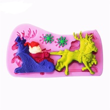 Santa Sleigh Elk Fondant Cake Mold, Silicone Baking Tools, High Temperature, Christmas Gifts A018(China)