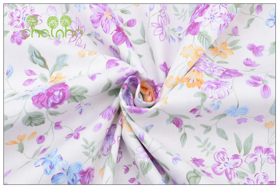 Chainho Twill Cotton Fabric,Patchwork Floral Tissue Cloth,DIY Sewing Quilting Fat Quarters Material For Baby&Children,5pcs/lot 17