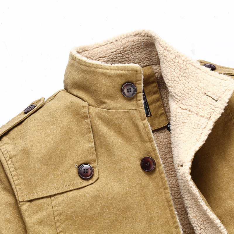 Plus Size Outwear Warm Coat For Man 2019 Autumn Winter Plus Velvet Thick Jackets Coats Male\`s Streetwear Button Cardigan Tops