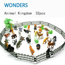 Small Plastic Animals Simulation Zoo 32pcs/set Containing Solid various kinds Fence Animales Toys For Kid Children(China)
