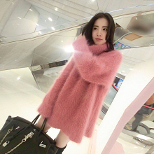 A new large in the long hair female mink cashmere sweater loose thickened sleeve head tide a1001