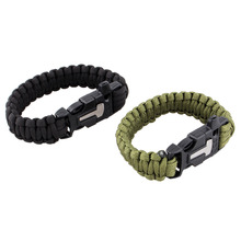 4 in 1 Magnesium Flint Fire Starter Survival Bracelet Whistle,Outdoor Camping Gear Equipment Paracord Rescue Rope Escape Buckle