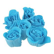 JEYL Turquoise Blue Rose Design Bathing Scented Soap Petal 6PCS