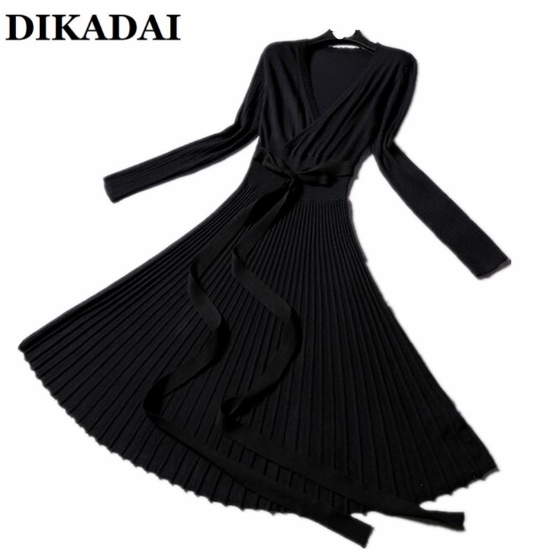 Elegant office Ladies wrap Dress Women Autumn and Winter Long Sleeve Knitting Pleated Knee Length Party vestido Casual Dresses