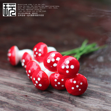 10pcs/lot Red/ Multi-colored Foam Mushrooms Miniatures For Fairy Garden DIY Bottle Landscape Decorative(China)