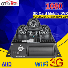 SD Card Mobile Dvr ,Real Time Video 3G GPS WIFI Car Camera Recorder PC /Phone Realtime Monitoring 4CH Vehicle AHD Car Dvr Mdvr(China)