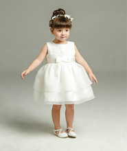 Summer Ivory New Baby Girl Birthday Baptism Dress Sleeveless Christening Gown Lace Baby Girl Party Tutu Dress Baptism Dress(China)