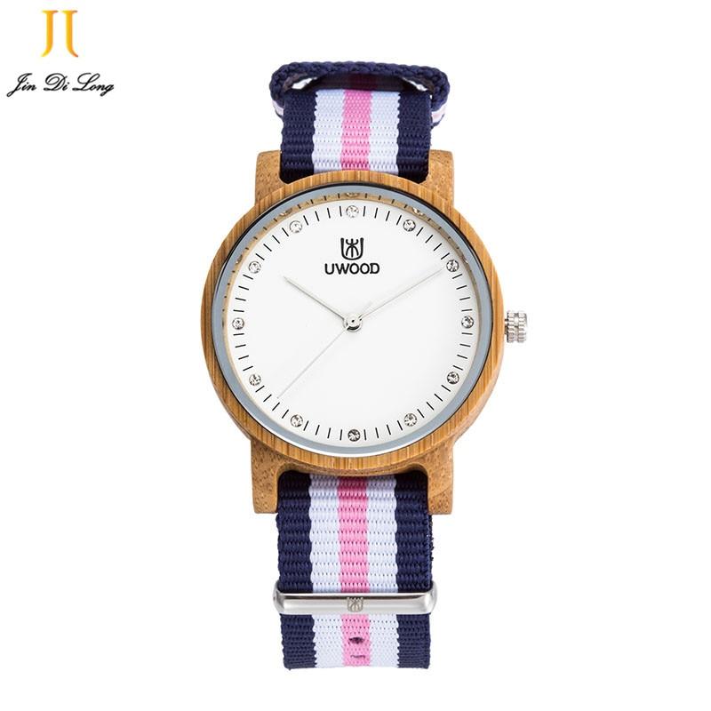 Stylish New Fashion Womens watch Vintage Korea Watch Nylon Wooden Quartz Watches For Women Best Gifts Feminino Relogio Clock<br>