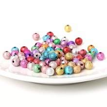 Random Mix/Silver/Gold Acrylic plastic Round Ball Spacer Beads Charms Findings 6/8/10/12mm For Jewelry Making Child Craft DIY(China)