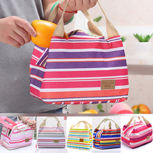 1PC Popular Women Insulated Lunch Box Carry Stripe Insulation Waterproof Storage Bag(China)