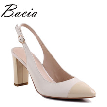 Bacia Sheep Skin Sandals 2017 New Thick Square Pointed Toe Heels Buckle Strap Women High Pumps Leather Shoes 35-40 Size SA004(China)