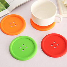 Silicone Cup mat Cute Colorful Button Cup Coaster Cup Cushion Holder Drink Cup Placemat Mat Pads Coffee Pad