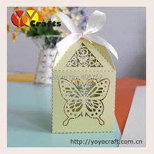 Hot wedding favor supply green butterfly small chocolate packaging box(China)