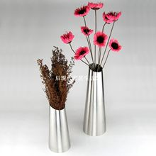 Free shipping exquisite stainless steel vase home decor flower pot optional 2 sizes big and small   taper shape frosted polished