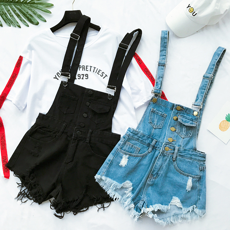 New Collection Summer Korean Loose Women Denim Jumpsuit High-waisted Ripped Hole Wavy Edge Jumpsuit Fashionable Suspenders Pants3