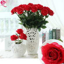 New DIY Wedding Decoration Artificial Flowers Flores Red Roses Single Flower Living room Desktop Plastic Decoration Fake flowers(China)
