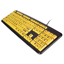 High Contrast Yellow Keys Black Letter ABS Professional Large Print Elderly USB PC Computer Game Gaming Keyboard For Old People