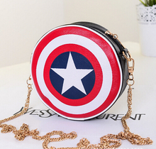 Fashion Captain America Shield Black Red  Pu Leather Round Handbags For Women Shoulder Bags Style Crossbody Bag Free shipping