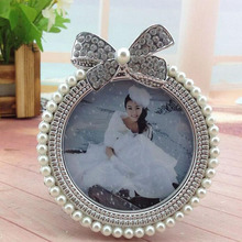 3inch Pearl Metal Photo Frame Diamond Pearl Decoration Girl Picture Holder Baby Shower Birthday Gift Home Room Ornament ZA3701(China)