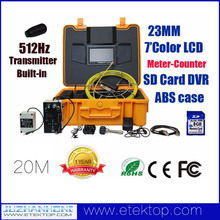 7 inches Color Monitor Pipe Inspection Camera With 512hz Transmitter Keyboard Meter-Counter 20m Cable,Pipe Camera with Locator
