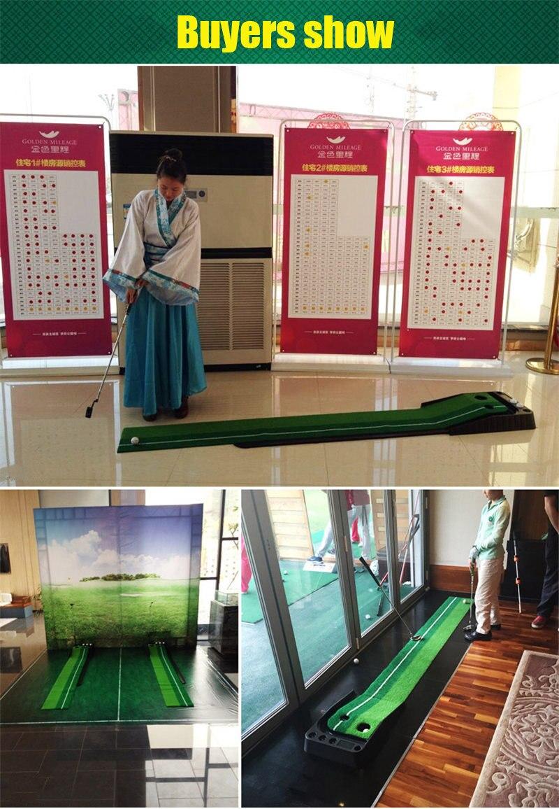 PGM indoor Golf Putter Practice Set Putting Green Trainer Green Mat Automatic Return Fairways Equipment Golf Training Aids (23)