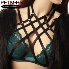 Buy Black Body Harness Soft Cage Bra Elastic Adjust Tops Bondage Lingerie Erotic Full Hollow Goth Fetish Halloween Sexy Harness