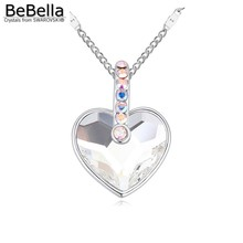 BeBella 2016 Trendy Heart shape Rhodium Plated necklace made with Crystals from Swarovski for women's gift