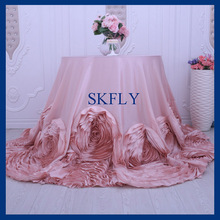 CL052H Popular fancy  wedding round blush pink table cloth with rose