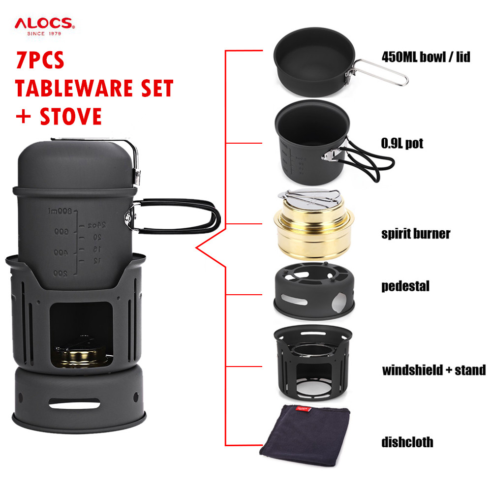 ALOCS Portable 7pcs/set Camping 0.9L Pot + 450ML Bowl + Windshield Stove Cookware Set for Outdoor Hiking Picnic Cooking Fishing<br>