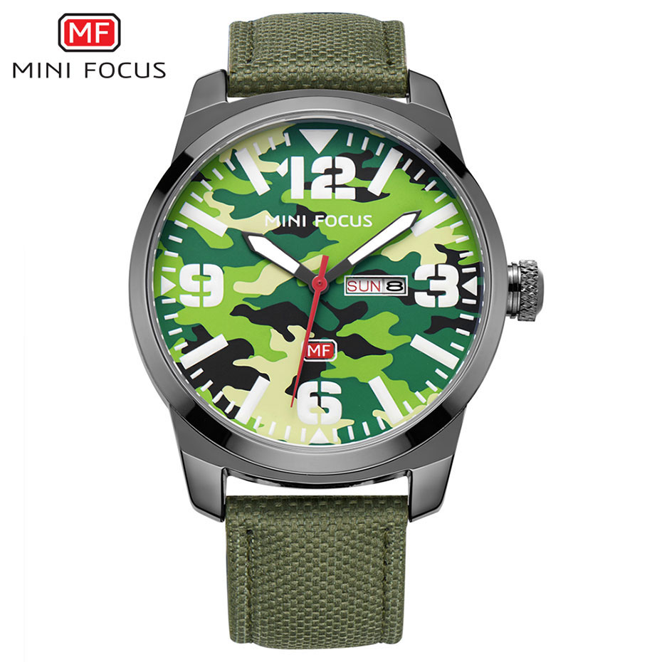 Luxury Mens Watches Famous Brands MINIFOCUS Camouflage Military Design Nylon Strap Week Date Display Quartz Wristwatch For Man<br>