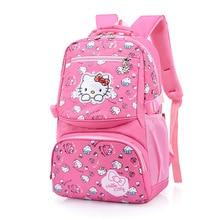 New Korean Hello Kitty School Bag For Girls Cartoon Bow Cat Nylon Student School  Backpacks mochila 1c9fda386fe96