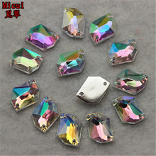 Micui 100ps 9*11.5mm  Irregular Shape Dazzling AB Color Sew On Acrylic Crystals Rhinestones Stones Strass Rhinestones ZZ434