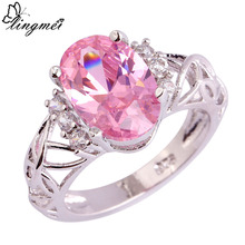 lingmei Wholesale Engagement Jewelry Pink CZ White CZ  Silver Color Ring Size 6 7 8 9 10 11 Fashion Women Rings Free Ship