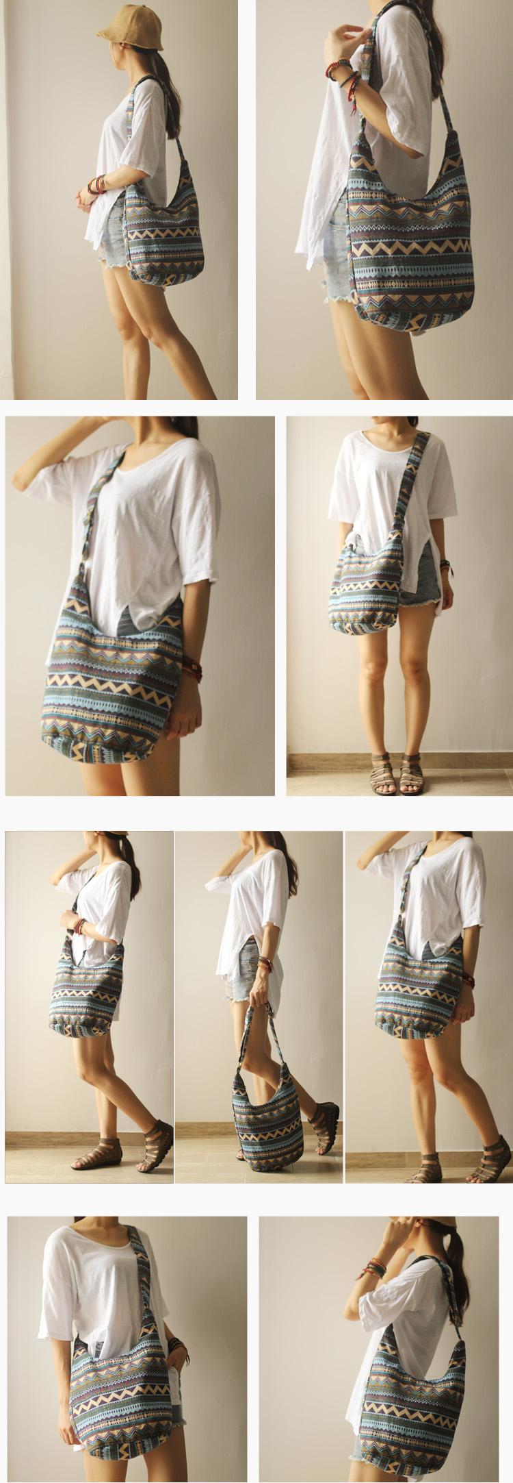 Women Vintage Shoulder Bag Plain Travel Overnight Hobo Sling Crossbody Hipster Bag  (6)