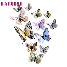 KAKUDER Top Grand 12 Butterfly Decals 3D Wall Stickers Home Decor Poster for Kids Rooms Wall Decoration Adesivo De Parede Feb