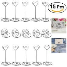 10pcs Heart Shape Place Card Memo Picture Clip & 5pcs Wedding Table Top Place Card Holder Party Favor Decor