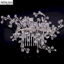 Metting Joura Wedding Party Romantic Crystal Faceted Beads Hair Comb Bride  Bridal  Crystal Rhinestone Pearl Hair Accessories