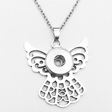 NEW angel snap button jewelry Necklace pendant NE7567 fit 18mm 20mm snaps BOBOSGIRL(China)