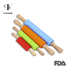 2 Sizes 4 colors Silicone Rolling Pins Dough Pastry Roller Wooden Handle Silicone Rolling Pin Baking Tools(China)